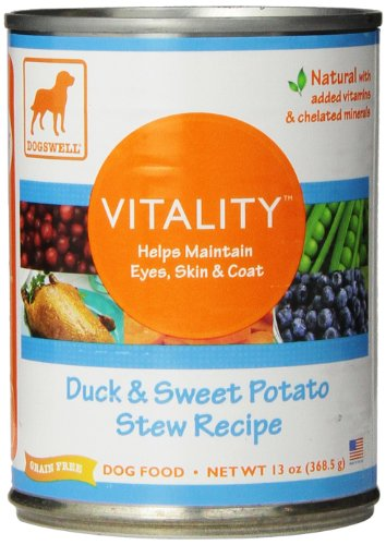 Dogswell Vitality Duck & Sweet Potato Dog Food, 12 Pack of 13oz Cans