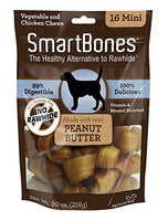"SmartBones Peanut Butter Dog Chew, Mini 2.5"", 16 pack"
