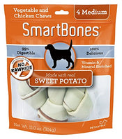 "SmartBones Sweet Potato Dog Chew, Medium 5.5"", 4 pack"