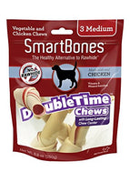 "SmartBones DoubleTime Bones Chicken Dog Chew, Medium 5.5"", 3 pack"
