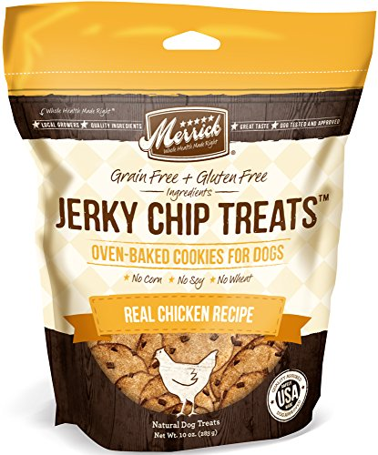 Merrick Jerky Chip Treats, Real Chicken Grain Free Dog Treats, 10oz