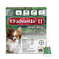 K9 Advantix II Flea, Tick and Mosquito Prevention for Small Dogs, 4 - 10 lb, 4 doses