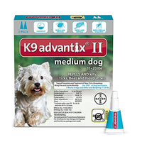 K9 Advantix II Flea, Tick and Mosquito Prevention for Medium Dogs, 11 - 20 lb, 2 doses