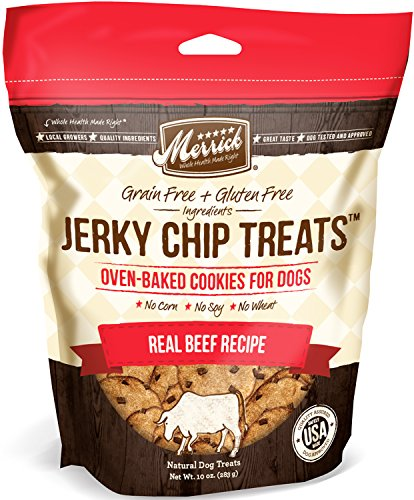 Merrick Jerky Chip Treats, Real Beef Grain Free Dog Treats, 10oz