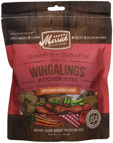 Merrick Kitchen Bites Wingalings Applewood Bacon Grain Free Dog Treats, 9oz