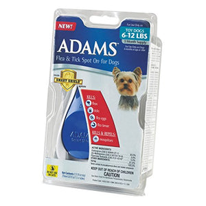 Adams Flea and Tick Spot On for Dogs, Toy Dogs 6-12 Pounds
