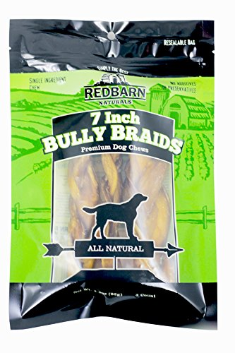 Redbarn 7-Inch Braided Bully Sticks (1-Pack of 3) 3.2 oz