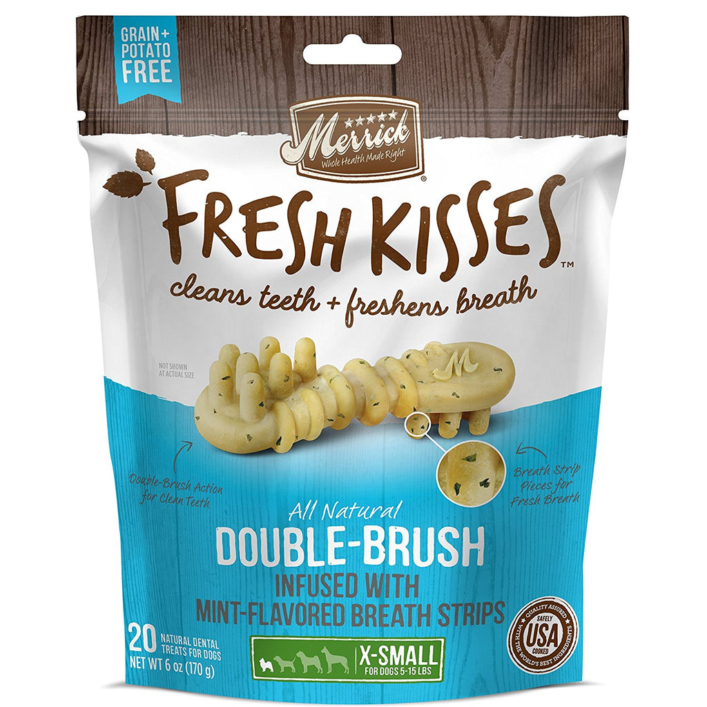 Merrick Fresh Kisses Mint Double Brush Dental Dog Treats