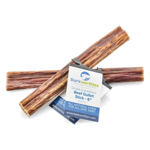 Barkworthies Beef Gullet Stick Dog Treat, 6""
