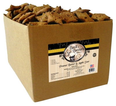 Basil & Baxter's Peanut Butter & Apple Star Biscuit Dog Treats, 10lb. Box