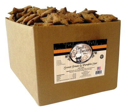 Basil & Baxter's Sweet Potato Pumpkin Star Biscuit Dog Treats, 10lb. Box