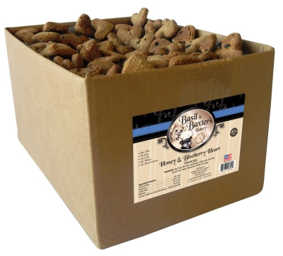 Basil & Baxter's Honey & Blueberry Heart Biscuit Dog Treats, 10lb. Box