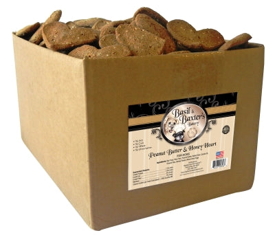 Basil & Baxter's Peanut Butter & Honey Heart Biscuit Dog Treats, 10lb. Box