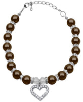 Mirage - Heart And Pearl Pet Necklace - Chocolate