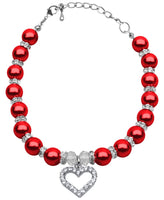 Mirage - Heart And Pearl Pet Necklace - Red
