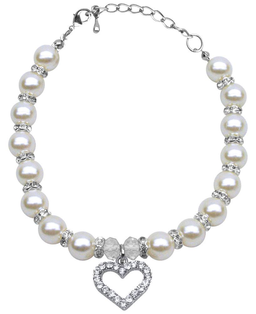 Mirage - Heart And Pearl Pet Necklace - White