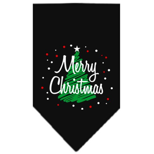 Mirage - Scribble Merry Christmas Dog Bandana - Black