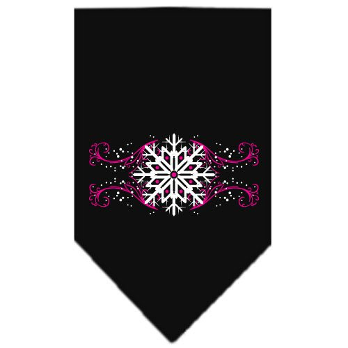 Mirage - Pink Snowflakes Christmas Dog Bandana - Black