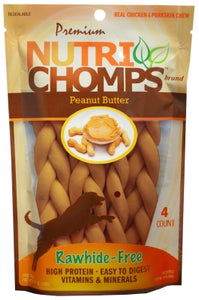 "Nutri Chomps 6"" Braids 4 Pack - Peanut Butter"