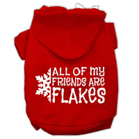 Mirage - All My Friends Are Flakes Winter Dog Hoodie - Red