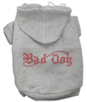 Grey Bad Dog Rhinestone Dog Hoodie