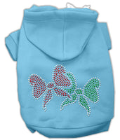 Mirage - Christmas Bows Rhinestone Dog Hoodie - Baby Blue