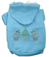 Mirage - Christmas Cupcake Trio Dog Hoodie - Baby Blue