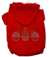 Mirage - Christmas Cupcake Trio Dog Hoodie - Red