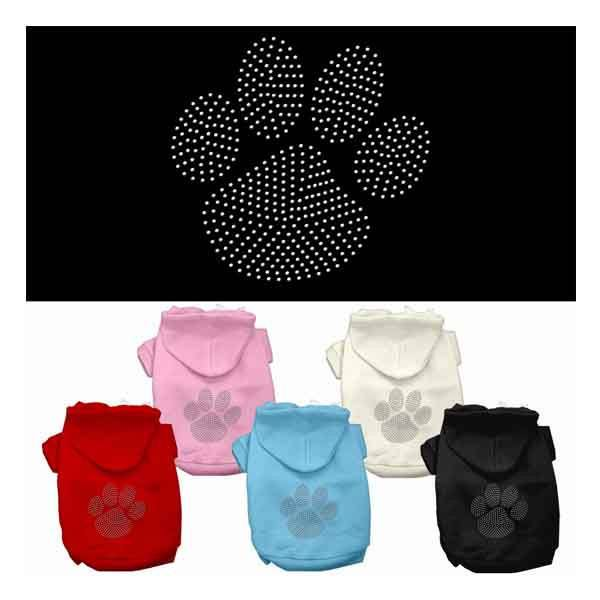 Mirage - Clear Rhinestone Paw Dog Hoodies