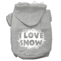 Mirage - I Love Snow Dog Hoodie - Grey