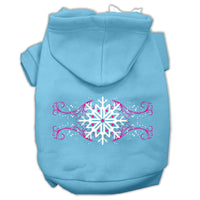 Mirage - Pink Snowflake Swirls Dog Hoodie - Baby Blue
