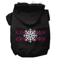 Mirage - Pink Snowflake Swirls Dog Hoodie - Black