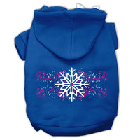 Mirage - Pink Snowflake Swirls Dog Hoodie - Blue
