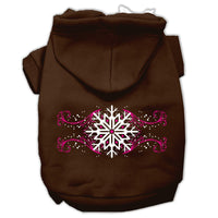 Mirage - Pink Snowflake Swirls Dog Hoodie - Brown