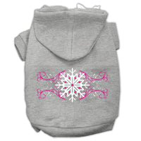 Mirage - Pink Snowflake Swirls Dog Hoodie - Grey