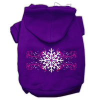 Mirage - Pink Snowflake Swirls Dog Hoodie - Purple