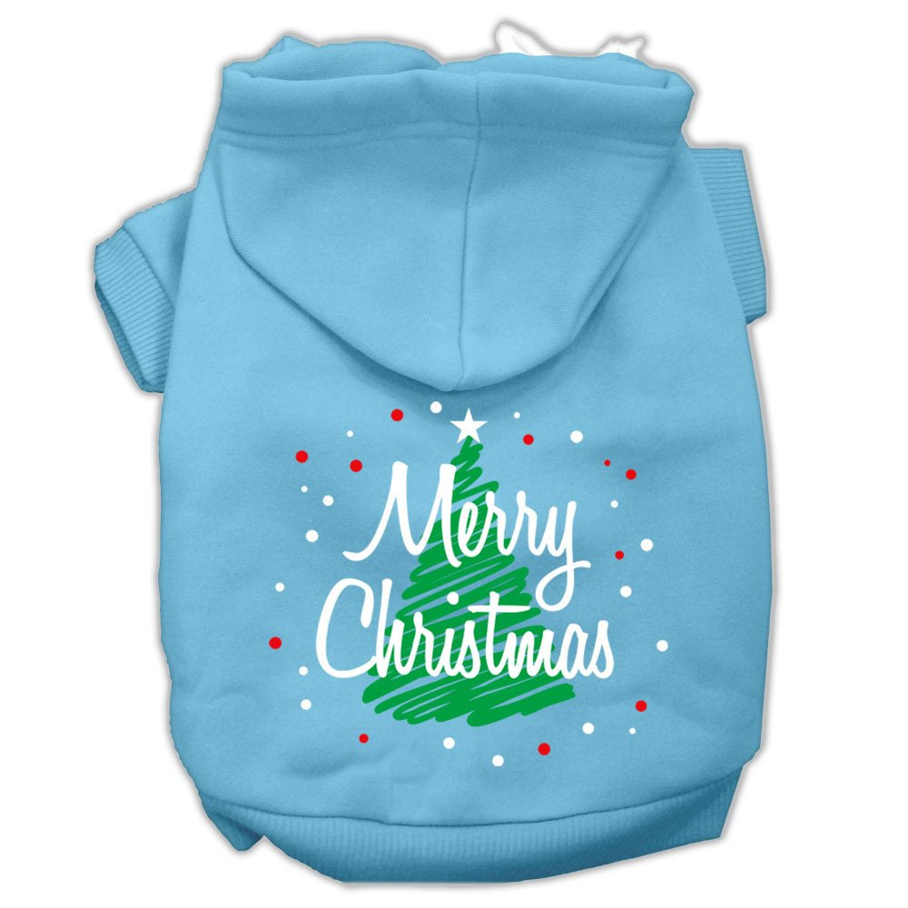 Mirage - Scribbled Merry Christmas Dog Hoodie - Baby Blue
