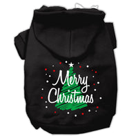 Mirage - Scribbled Merry Christmas Dog Hoodie - Black
