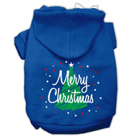 Mirage - Scribbled Merry Christmas Dog Hoodie - Blue