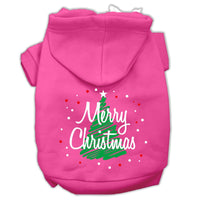 Mirage - Scribbled Merry Christmas Dog Hoodie - Bright Pink