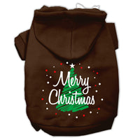 Mirage - Scribbled Merry Christmas Dog Hoodie - Brown