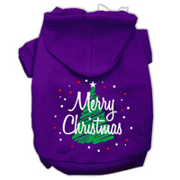 Mirage - Scribbled Merry Christmas Dog Hoodie - Purple