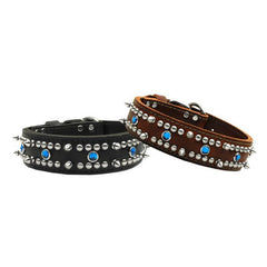 Mirage - Jewel Studded Spiked Leather Dog Collars
