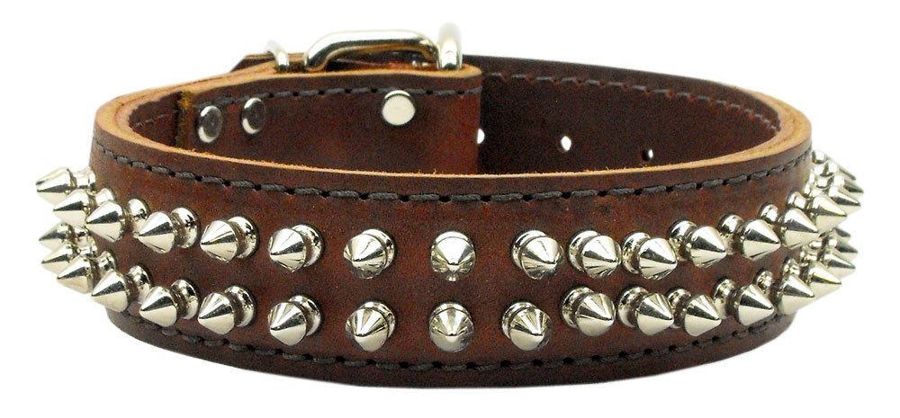 Four Paws Pet Stuff | Burgundy Menace Leather Spiked Dog Collars