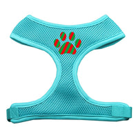 Christmas Paw Soft Mesh Harness - Aqua