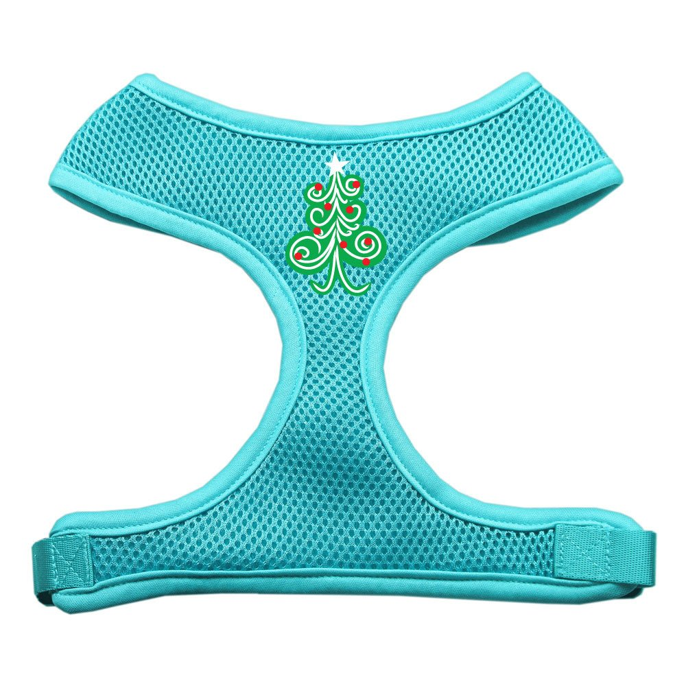 Mirage - Swirly Christmas Tree Soft Mesh Dog Harness - Aqua