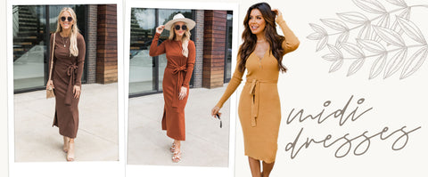 midi dress wedding guest outfits