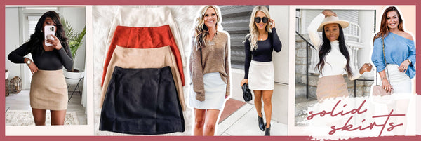what to wear with solid skirts
