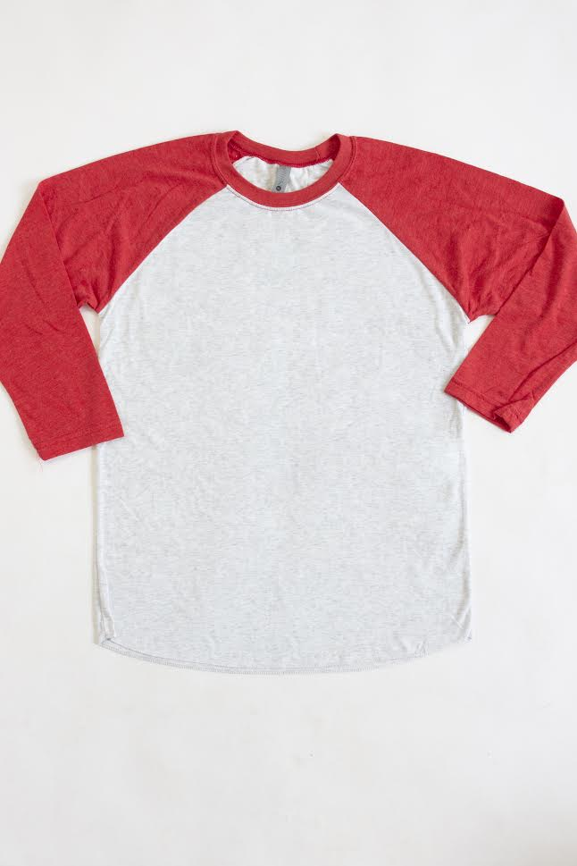Red/Light Grey Classic 3/4 Sleeve Raglan  FINAL SALE