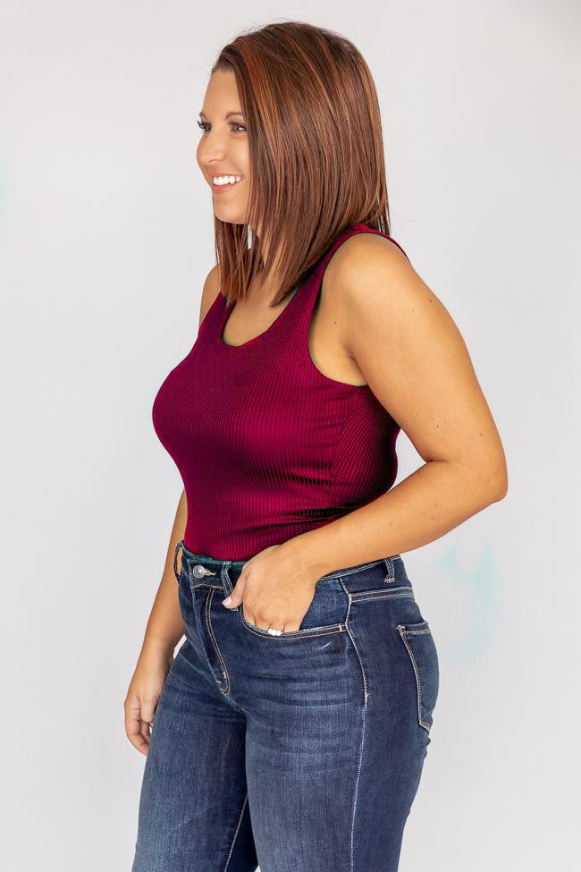 Best View Ribbed Tank Burgundy Bodysuit